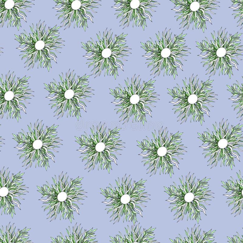 Цветки вектора орнаментируют на голубой предпосылке бесплатная иллюстрация