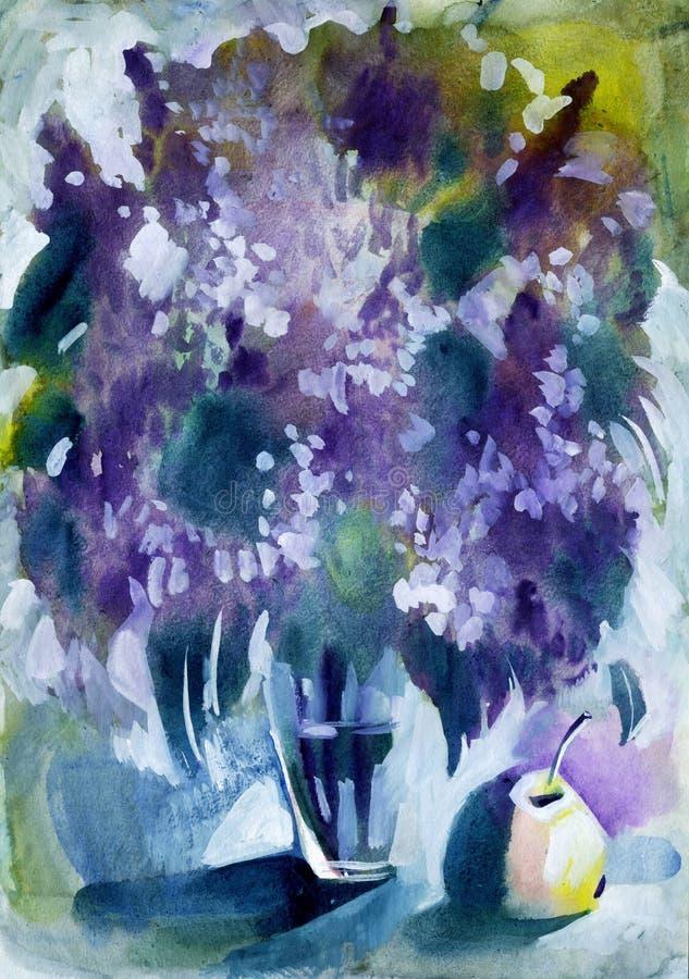 Цветки весны сирени картины акварели иллюстрация штока