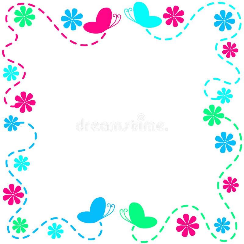 Рамка бабочек и цветков летания иллюстрация штока