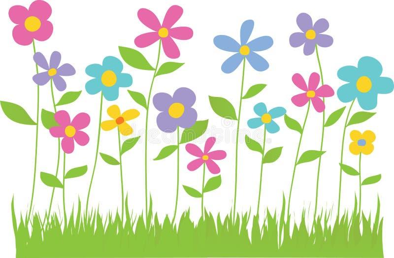 Цветки весны с границей травы иллюстрация штока
