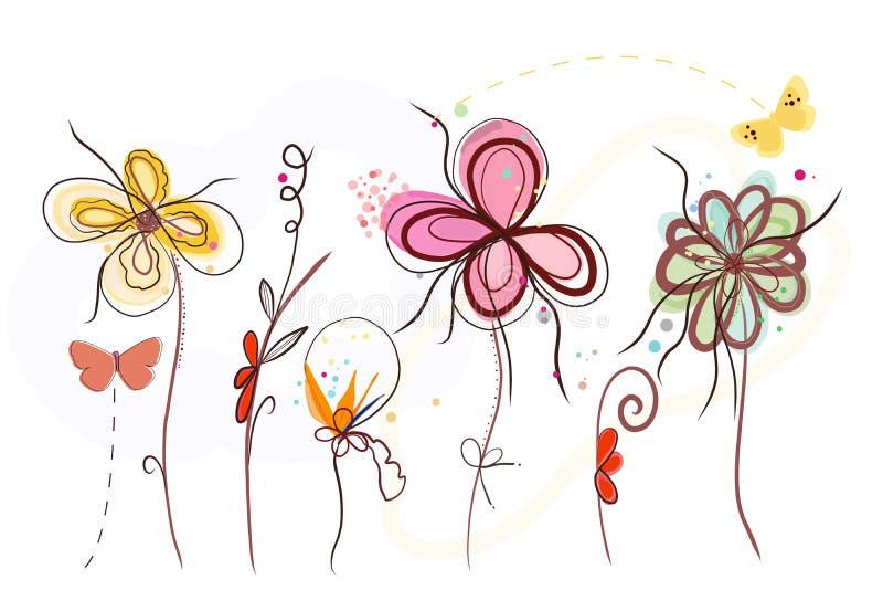 Цветки времени весны милого конспекта руки вычерченного живые покрашенные Цветение времени весны бесплатная иллюстрация