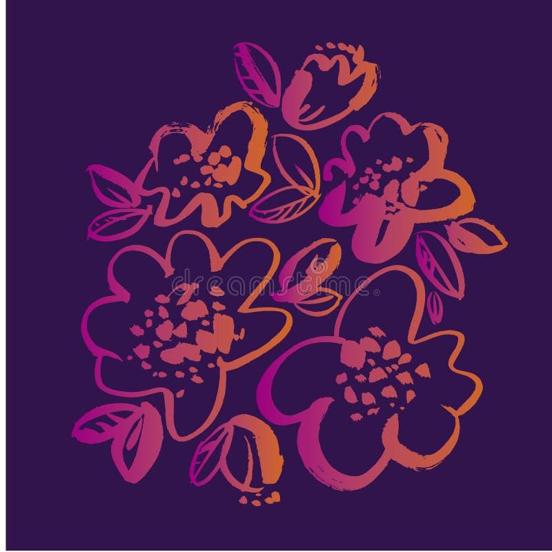 Цветки вручают вычерченную иллюстрацию вектора иллюстрация вектора