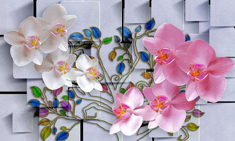 Цветки в абстрактной квадратной предпосылке Обои фото для интерьера перевод 3d стоковая фотография