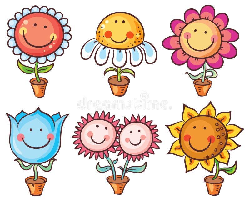 Цветки в баках как персонажи из мультфильма с сторонами бесплатная иллюстрация