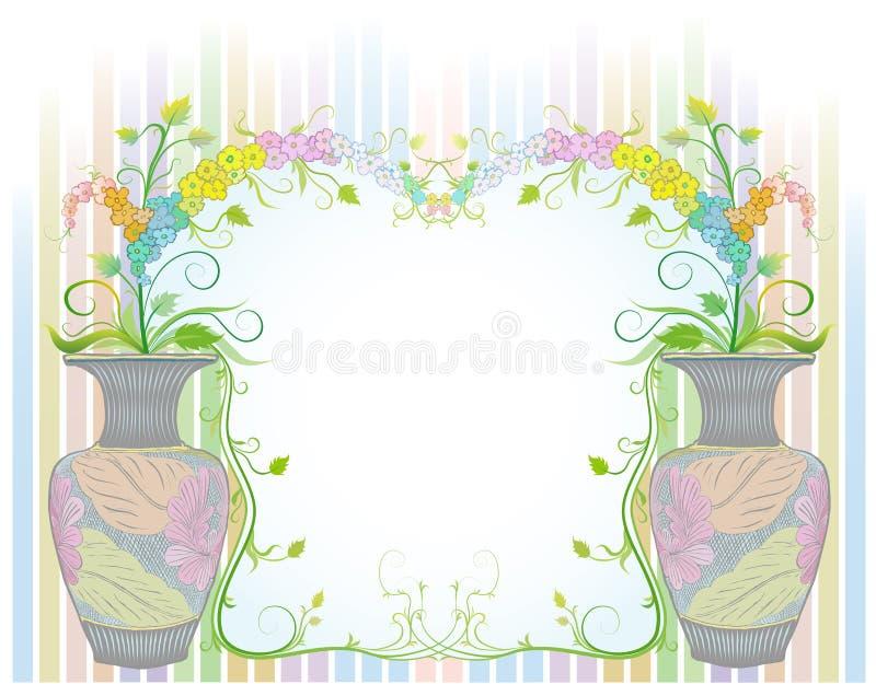 Цветки в вазах с старой картиной иллюстрация штока