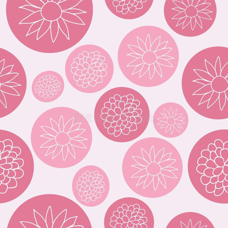 Цветки в дизайне картины пузырей пинка безшовном иллюстрация вектора