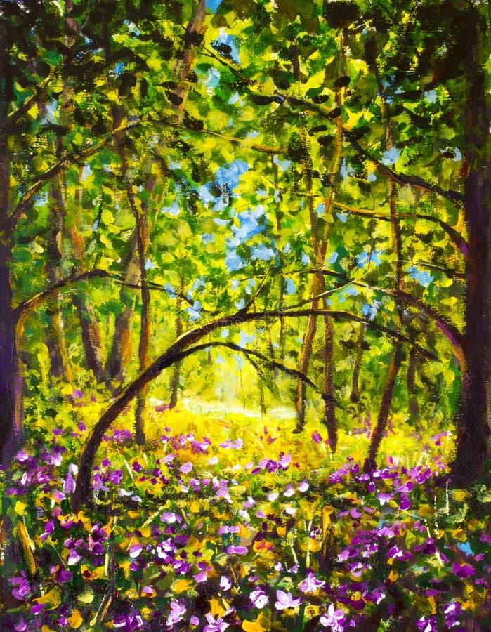 Цветки в дне лета леса солнечном в лесе зеленого леса красивом волшебном стоковые фото