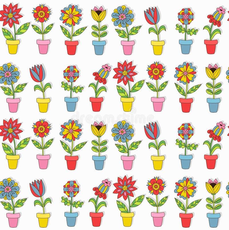 Цветки в картине вектора баков безшовной иллюстрация вектора