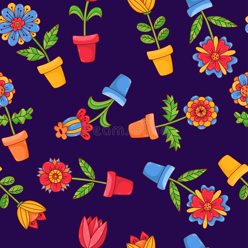 Цветки в картине вектора заводов дома баков безшовной иллюстрация вектора