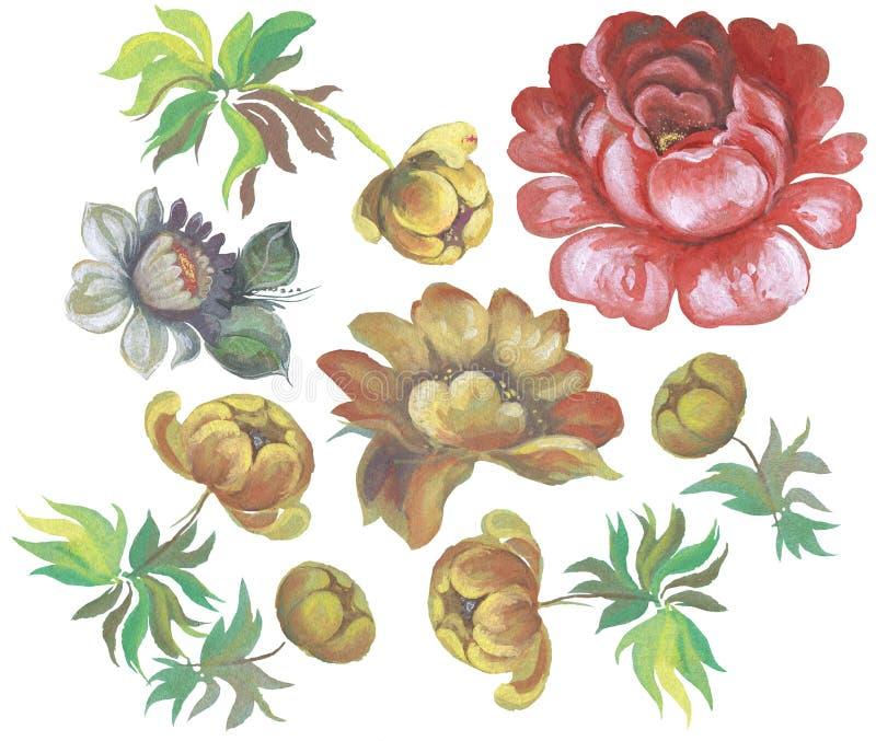 Цветки в русской картине Zhostovo стиля иллюстрация вектора