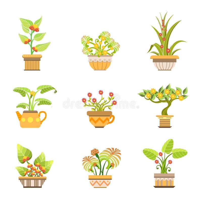Цветки в установленных баках бесплатная иллюстрация