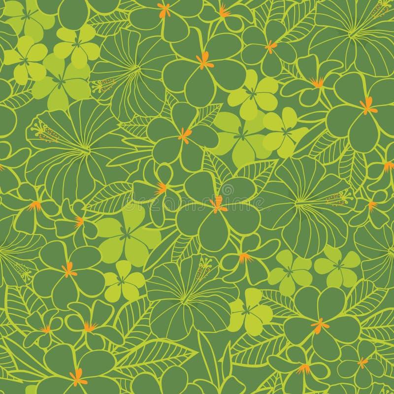 Цветки гибискус зеленого цвета вектора тропические и предпосылка картины frangipani безшовная Улучшите для ткани, scrapbooking, о иллюстрация штока
