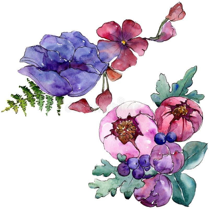Цветки голубого пурпурного букета флористические ботанические r Изолированный элемент иллюстрации букетов стоковое изображение