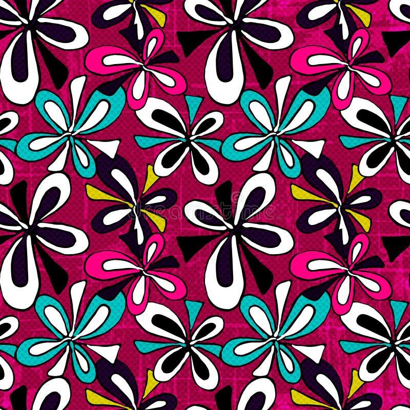Цветки граффити абстрактные на картине розовой предпосылки безшовной vector иллюстрация иллюстрация штока