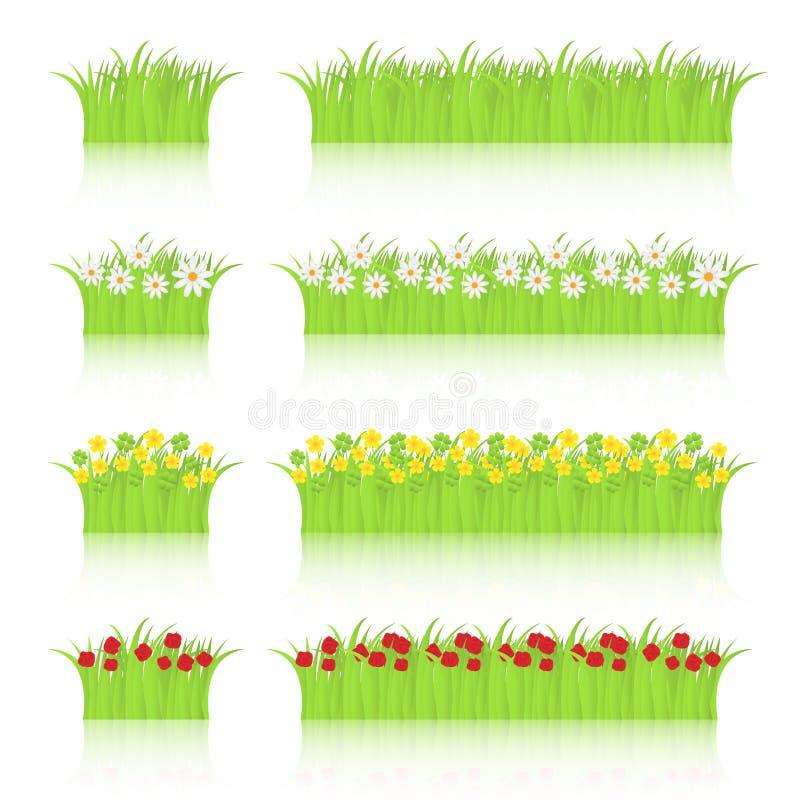 цветки засевают комплект травой бесплатная иллюстрация