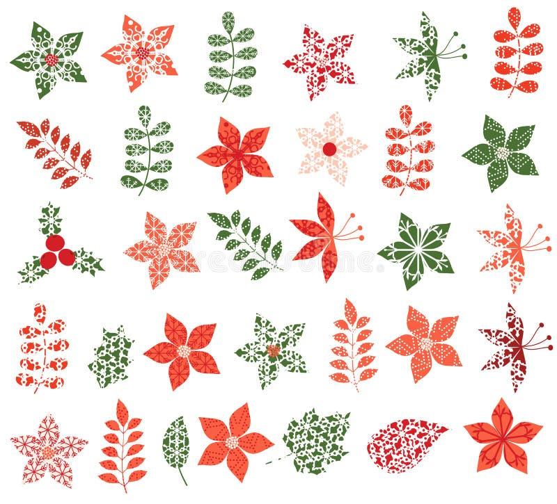 Цветки зимы и рождества, листья и ветви иллюстрация штока