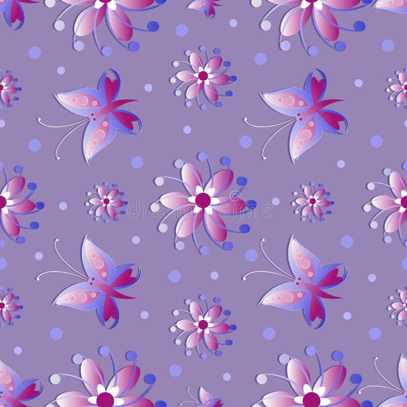 Цветки и бабочки на предпосылке сирени делает по образцу безшовное иллюстрация вектора