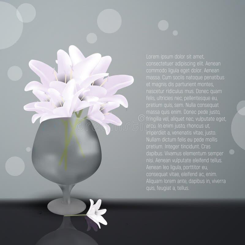 Цветки лилии в стеклянной вазе Зацветая lilia с белыми лепестками карточка невесты цветет кольца приветствию wedding иллюстрация штока