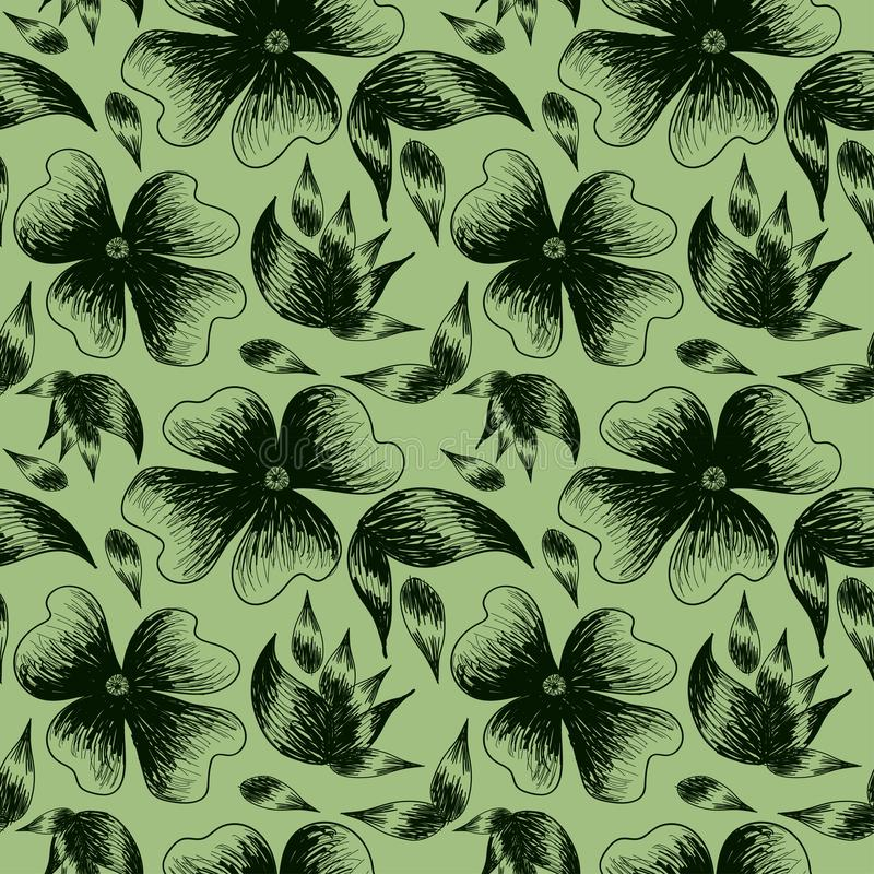 Цветки и листья покрашенные на зеленом цвете иллюстрация штока