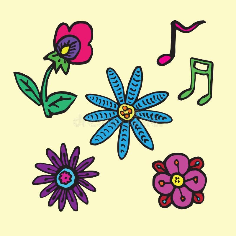 Цветки и примечания собрание музыки, doodle руки вычерченный, эскиз в naïve, стиле искусства попа, иллюстрации вектора цвета изо иллюстрация вектора