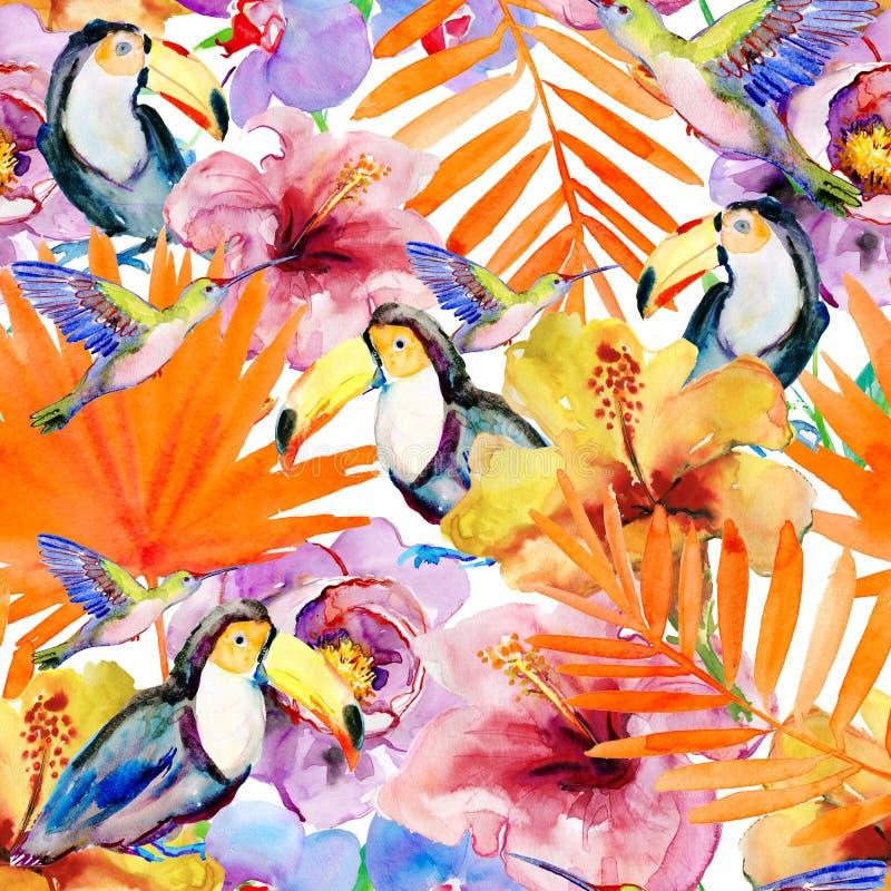Цветки и птицы на белой предпосылке картина иллюстрация вектора