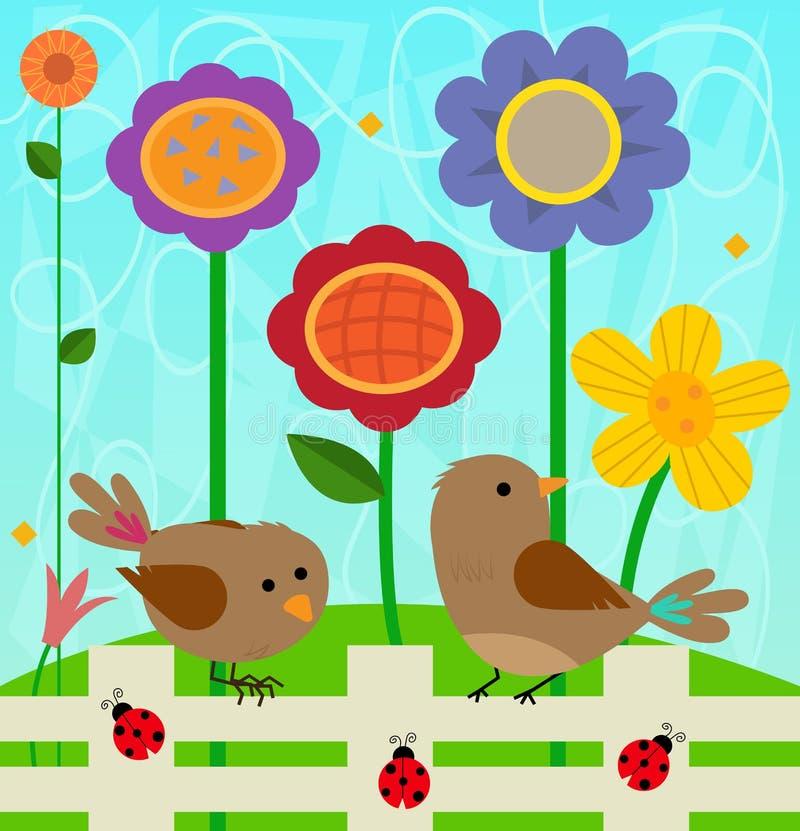 Цветки и птицы иллюстрация вектора