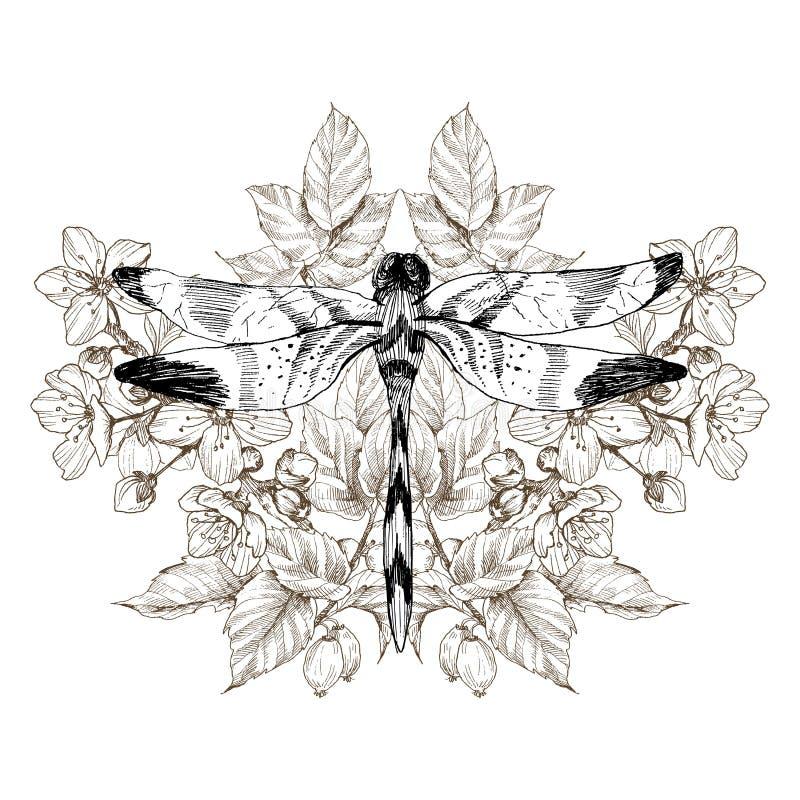 Цветки и dragonfly Татуировка вектора в винтажном стиле Изолированная иллюстрация вектора Логотипы и татуировка салона татуировки бесплатная иллюстрация