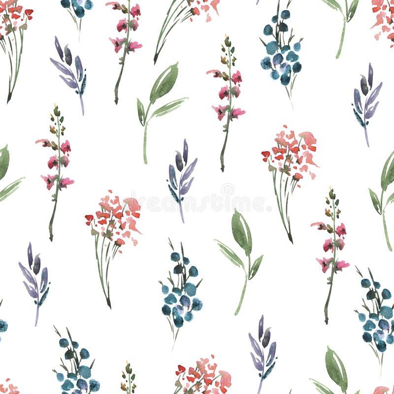 Цветки картины акварели конспекта флористические безшовные, хворостины, листья, бутоны Рука покрасила винтажную флористическую ил иллюстрация вектора