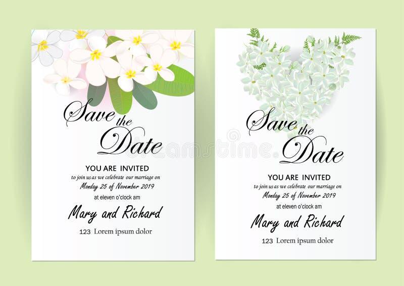 Цветки карточки приглашения свадьбы, жасмин бесплатная иллюстрация