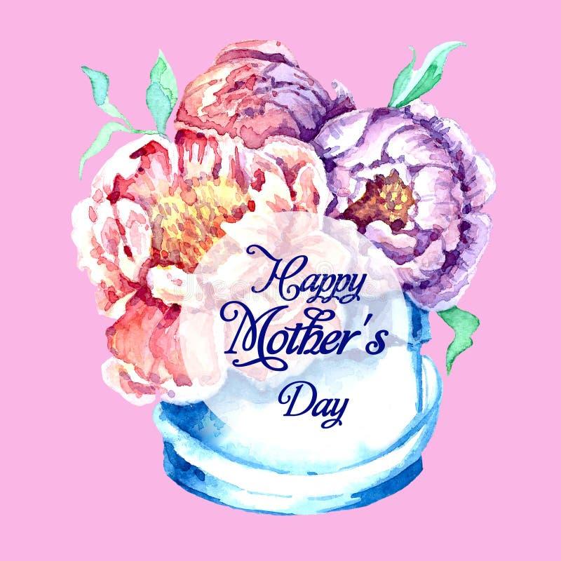 Цветки кладут в коробку с акварелью Поздравления на день ` s матери бесплатная иллюстрация