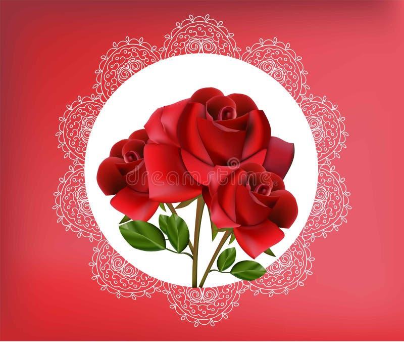 Цветки красной розы в винтажной рамке шнурка Vector иллюстрация для поздравительной открытки, свадьба, приглашение, печать иллюстрация штока