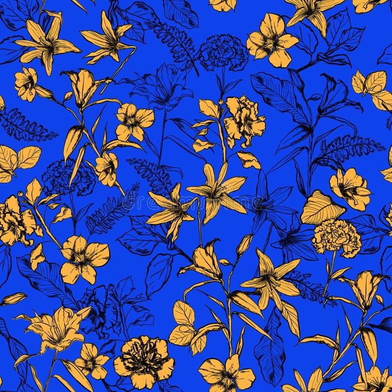 Цветки лета Beuatiful яркие желтые ботанические в саде ha иллюстрация штока