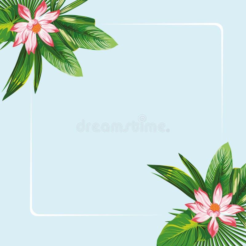 Цветки лотоса выходят рамке голубая предпосылка бесплатная иллюстрация