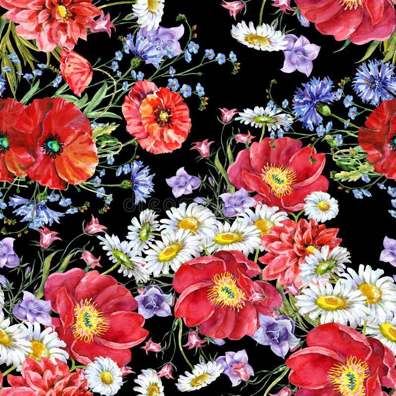 Цветки луга букета акварели Безшовная картина на черной предпосылке бесплатная иллюстрация