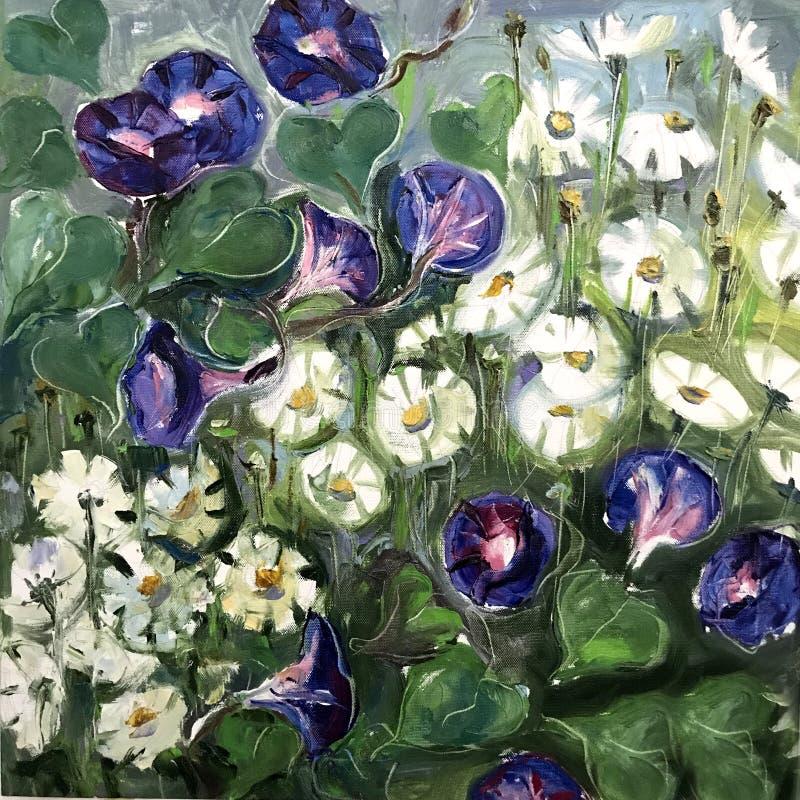 Цветки луга около пруда иллюстрация штока