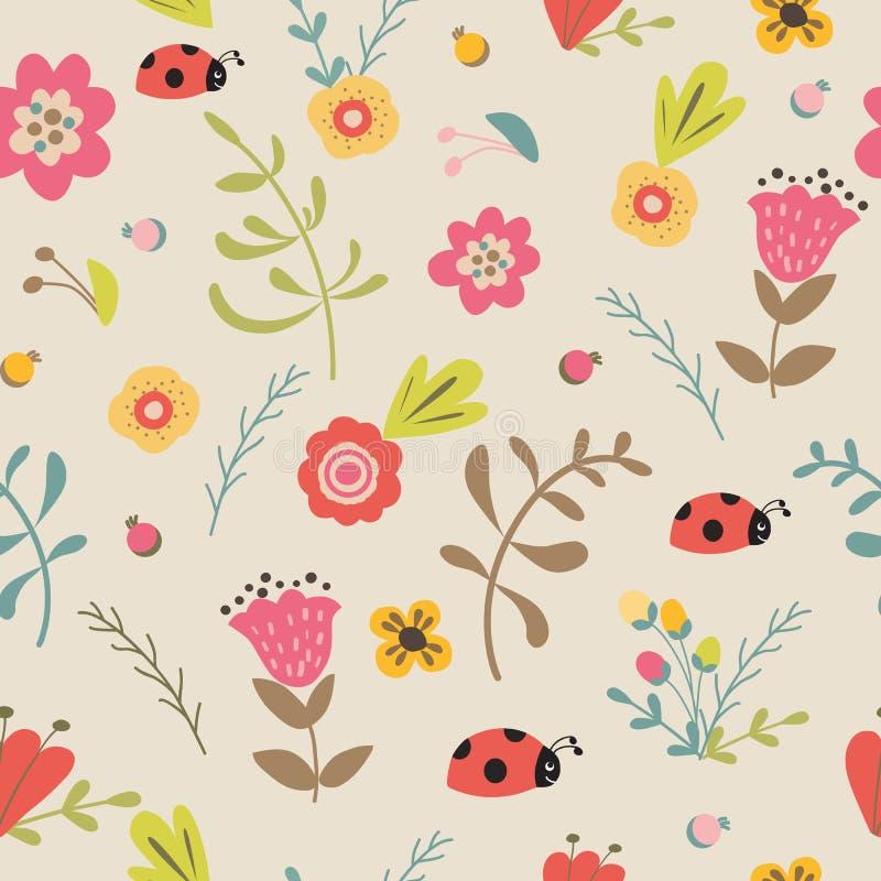 Цветки луга предпосылки сада флористической безшовной весны лета руки картины вычерченной пастельные иллюстрация вектора