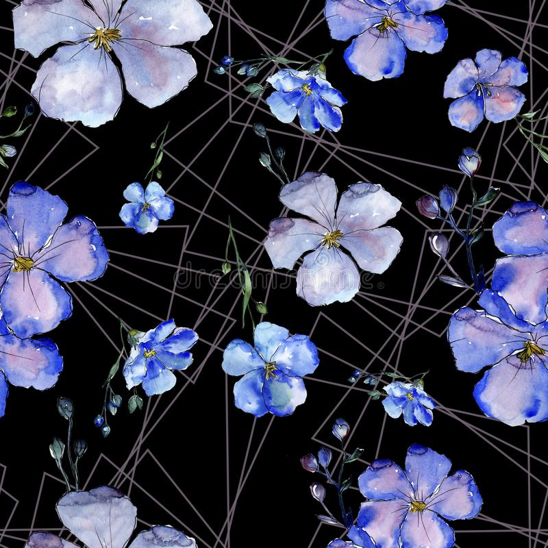 Цветки льна акварели голубые Флористический ботанический цветок Безшовная картина предпосылки стоковая фотография rf
