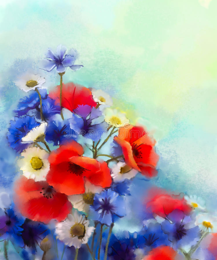 Цветки мака акварели красные, голубой cornflower и картина белой маргаритки иллюстрация штока