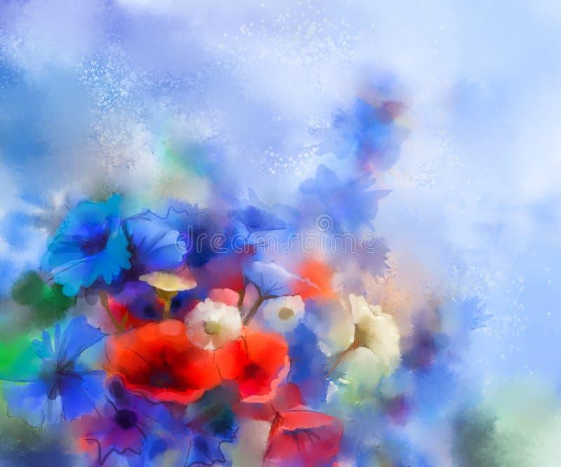 Цветки мака акварели красные, голубой cornflower и картина белой маргаритки бесплатная иллюстрация