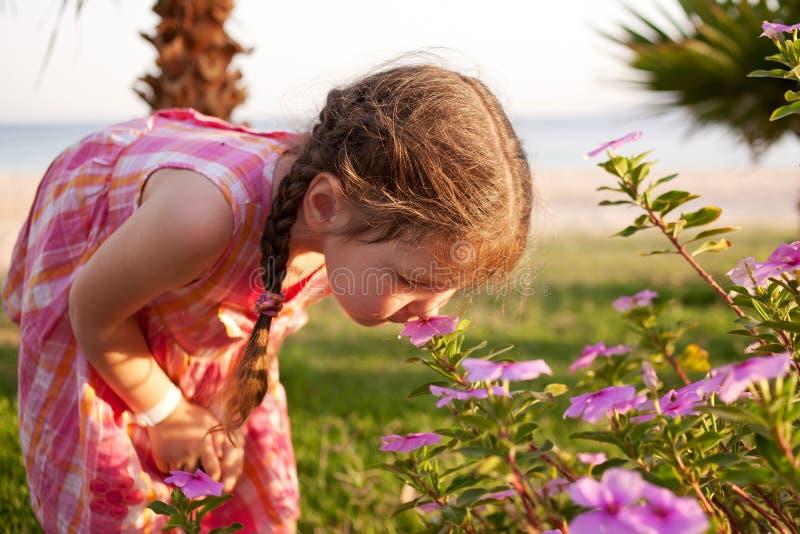 Цветки маленькой девочки пахнуть на пляже. стоковая фотография rf