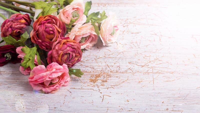 Цветки на белой деревянной предпосылке стоковые фото