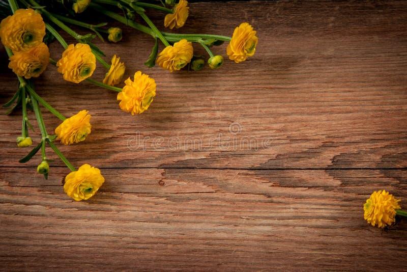 Цветки на деревянной предпосылке стоковое изображение rf