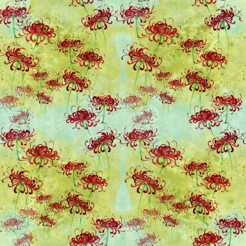 Цветки на предпосылке акварели Безшовная предпосылка Коллаж цветков и листьев Китайский чертеж щетки на рисовой бумаге иллюстрация вектора