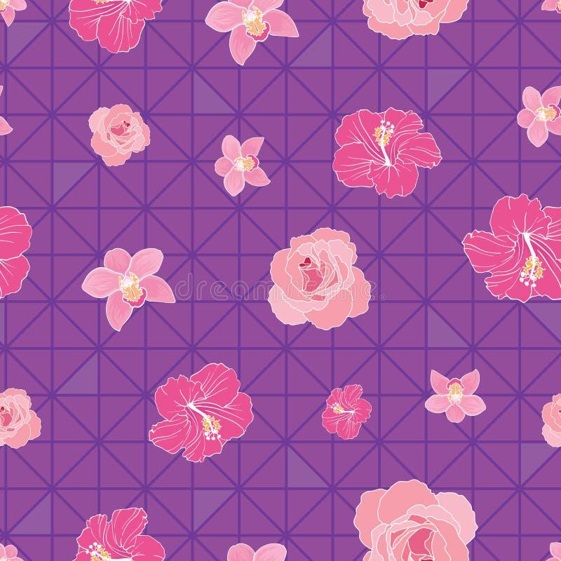 Цветки на треугольниках на безшовной печати картины стоковые фотографии rf