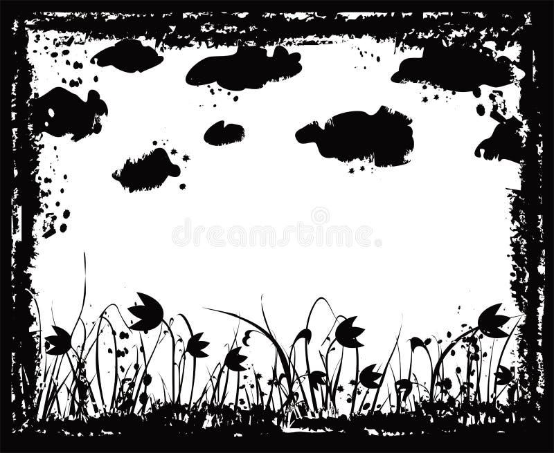 цветки облаков обрамляют вектор grunge иллюстрация вектора