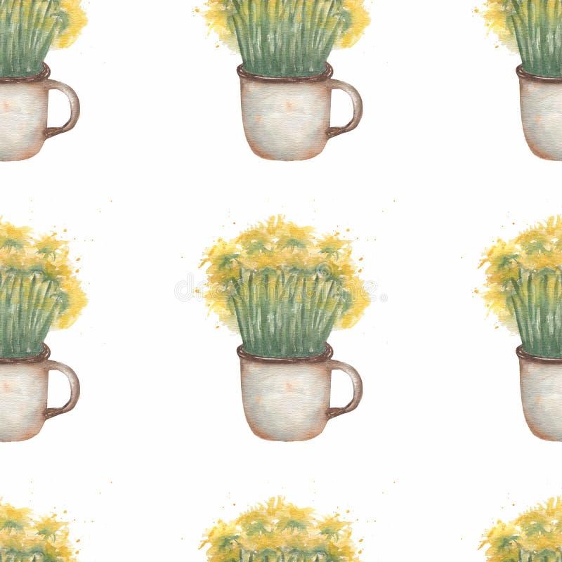 Цветки одуванчика акварели в кружке Картина заводов луга безшовная Рука покрасила естественную иллюстрацию в винтажной пастели иллюстрация вектора