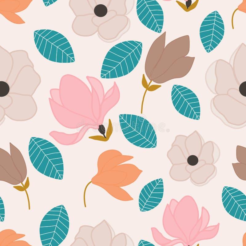 Цветки осени в безшовном дизайне картины иллюстрация штока