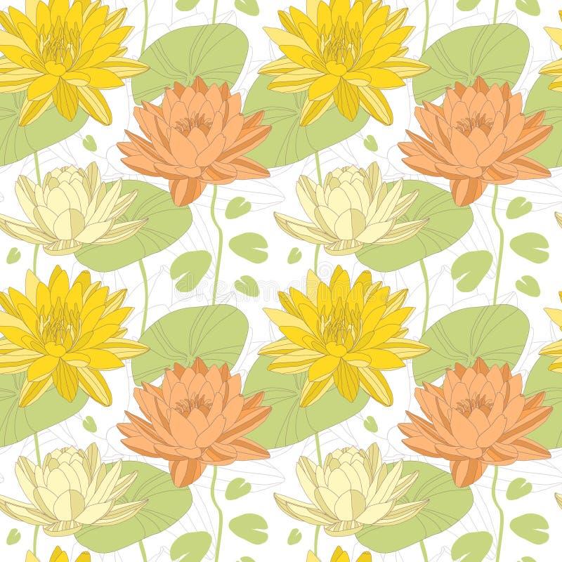 Цветки лотоса в безшовной картине иллюстрация вектора