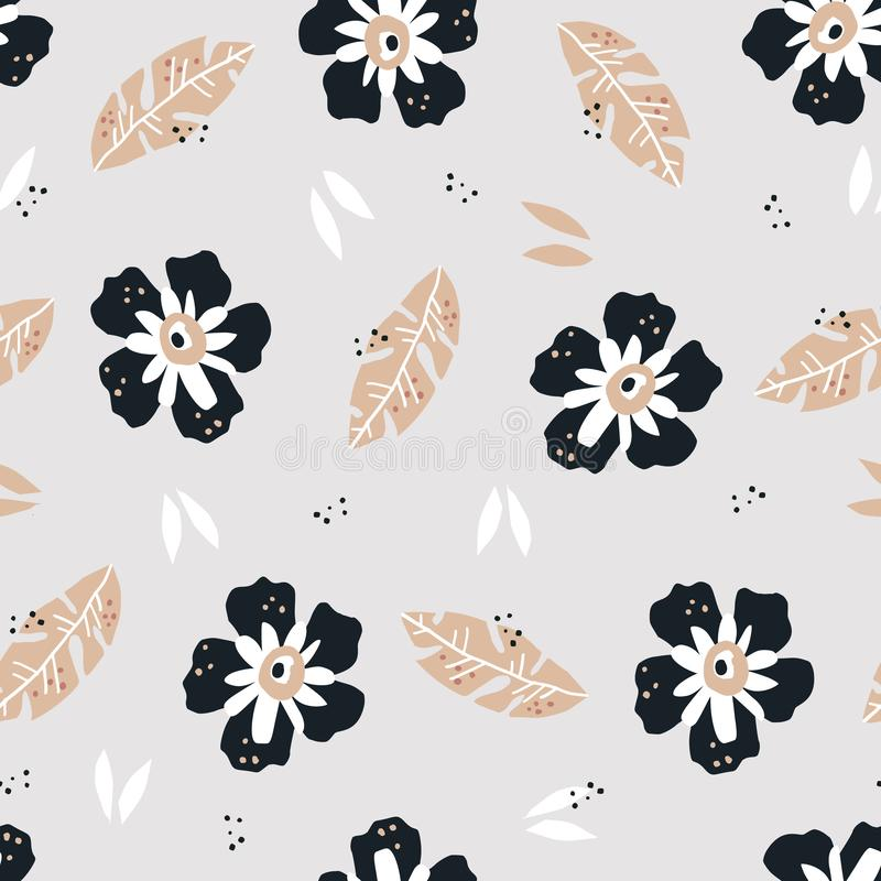 Цветки плоско вручают вычерченную безшовную картину бесплатная иллюстрация
