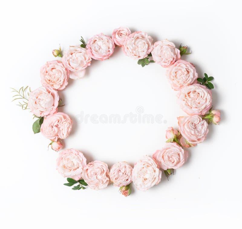 Цветки плоско кладут состав стоковая фотография rf